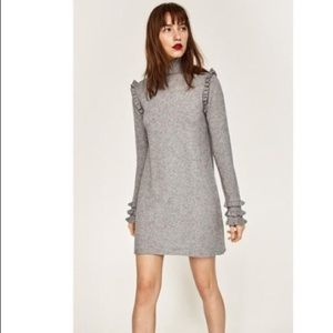 Zara knit turtleneck gray ruffle mini dress